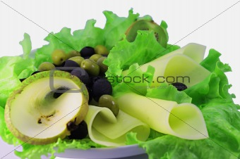 olive, cheese and other foodstuffs
