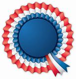 Blue red and white blank rosette