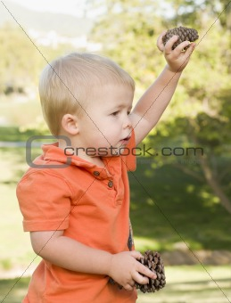 Cute Young Baby Boy Portrait Holding Pine Cones in The Park.