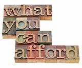 what you can afford