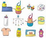 cartoon baby thing icon set