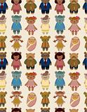 cartoon bear family icon set seamless pattern