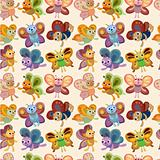cartoon butterfly icon set seamless pattern