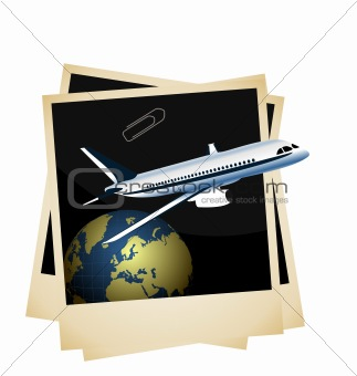 Illustration a conceptual composition - of the plane taking off