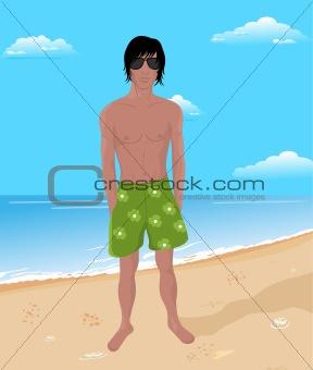 brawny man on beach