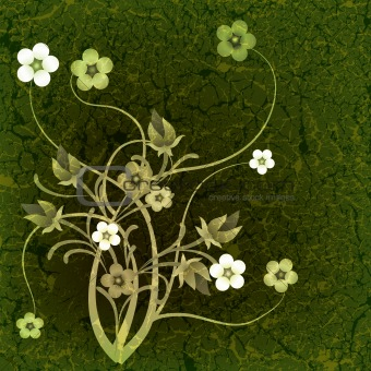 abstract grunge illustration with flowers