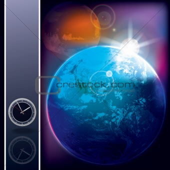 abstract background with earth and mars