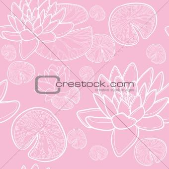 Blossom lotus flower, seamless texture
