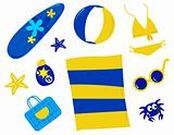 Summer and beach icons and accessories - retro ( yellow and blue