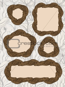 five vector vintage wooden frames on seamless floral wallpaper