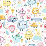 a pattern of funny monsters