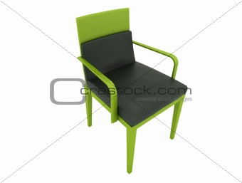 green leather chair isolated on white