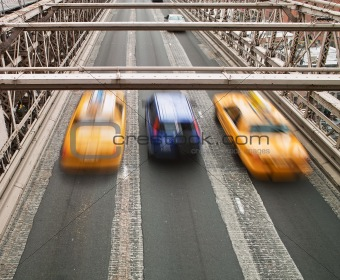 Taxis on Brooklyn Bridge