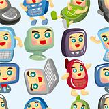 cartoon computer and phone set seamless pattern