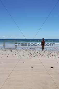 Beach landscape with a single person