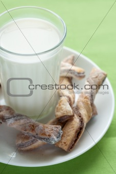 A glass of milk and tasty cookies