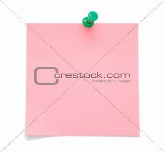 Blank pink sticky note