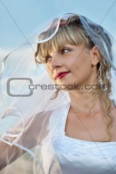 beautiful  young woman bride portrait close up