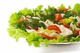 Healthy vegetable salad with lettuce, orange pepper, tomatoes an