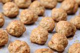 Meatballs on baking sheet