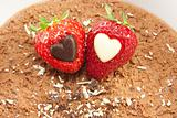 Strawberries on chocolate mousse