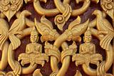 Decorated door in Buddhist temple, Laos