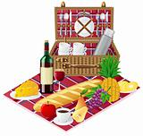 basket for a picnic with tableware and foods