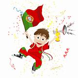 Portugal Sport Fan with Flag and Horn