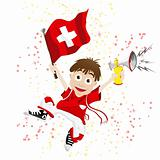 Switzerland Sport Fan with Flag and Horn
