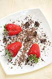 Fresh strawberries and chocolate pieces