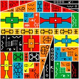African geometrical motifs, colored background