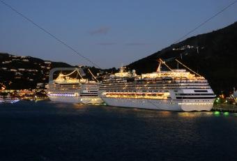Cruise ships at night