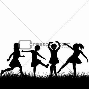 Black children silhouettes playing