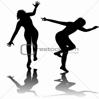 Black silhouette of playing kids