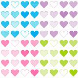 Seamless pattern with colored sets of hearts