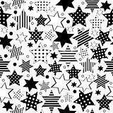 Seamless pattern with different types of stars