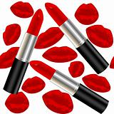Seamless pattern with lipsticks and lips