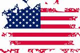 American flag background with grunge hearts