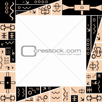 Frame with African tribal ornaments