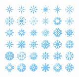 thirty six blue snowflakes