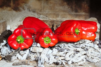 grilled red peppers ember fire