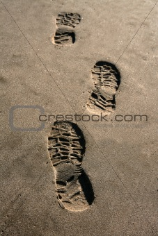 footprint shoe on beach brown sand texture print