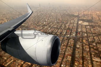 airplane wing aircraft turbine flying Mexico DF