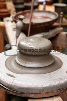 clay pottery stoneware potter wheel ceramics handcrafts