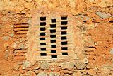 bricks window in masonry wall ancient architecture