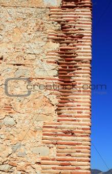 bricks corner detail in masonry wall ancient