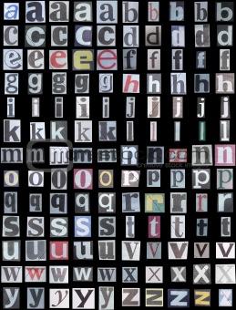 Newspaper alphabet lower case