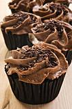 Lovely fresh chocolate cupcakes - very shallow depth of field