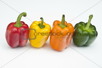 Four coloured peppers