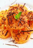Fruit salad with mandarin oranges and chocolate